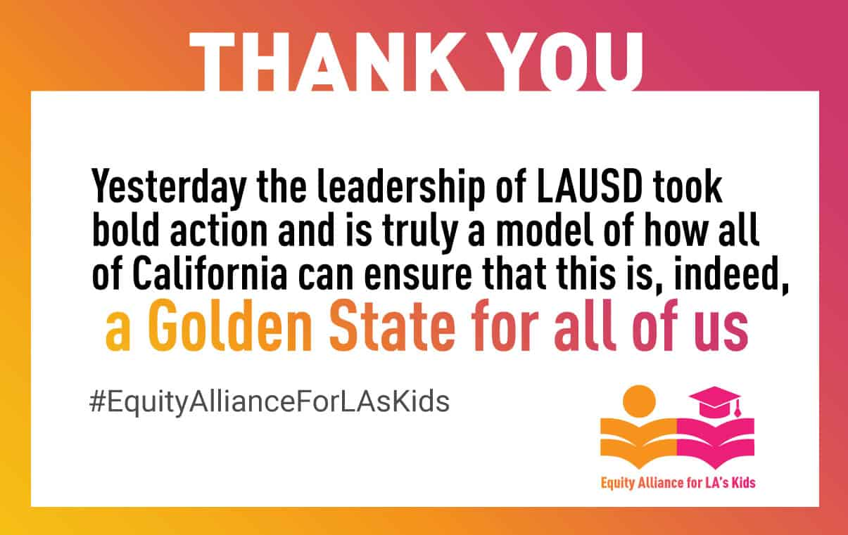 LAUSD unanimously votes yes on SENI 2.0 resolution!
